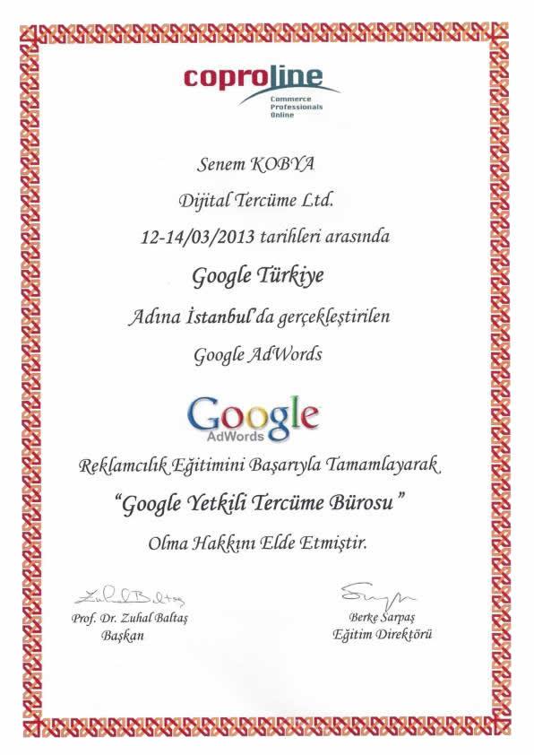 Google Yetkili Çeviri Bürosu