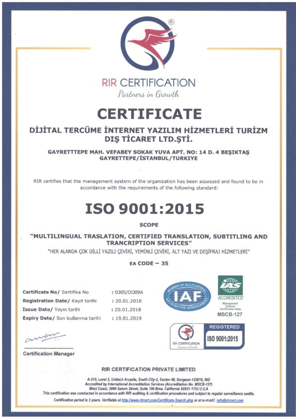 <strong>ISO 9001:2008</strong> Kalite Yönetim Sistemi